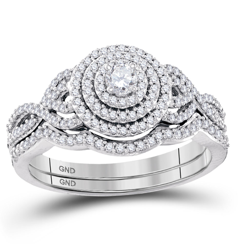 Diamond Concentric Bridal Wedding Engagement Ring 10k White Gold