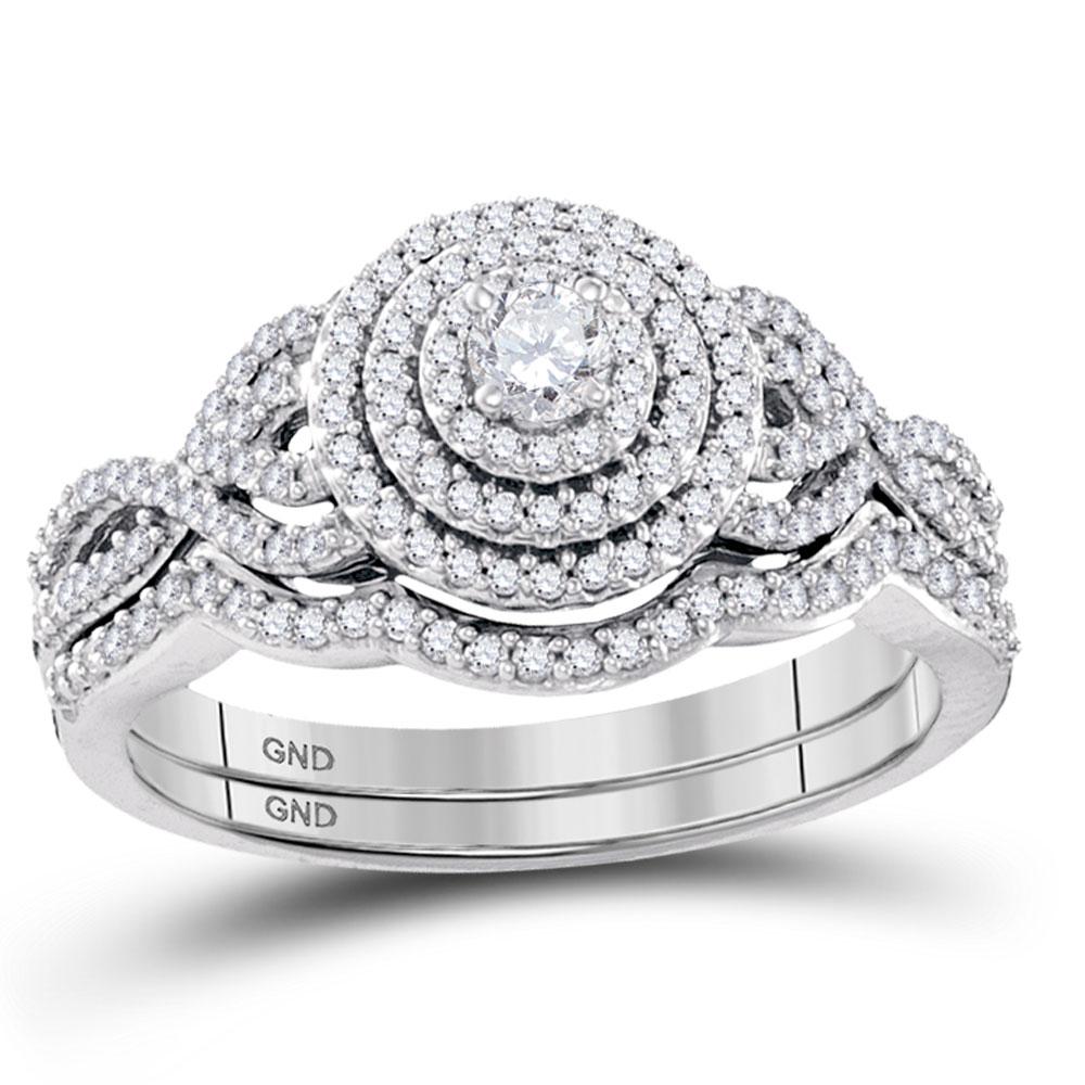 Lot 30088: Diamond Concentric Bridal Wedding Engagement Ring 10k White Gold