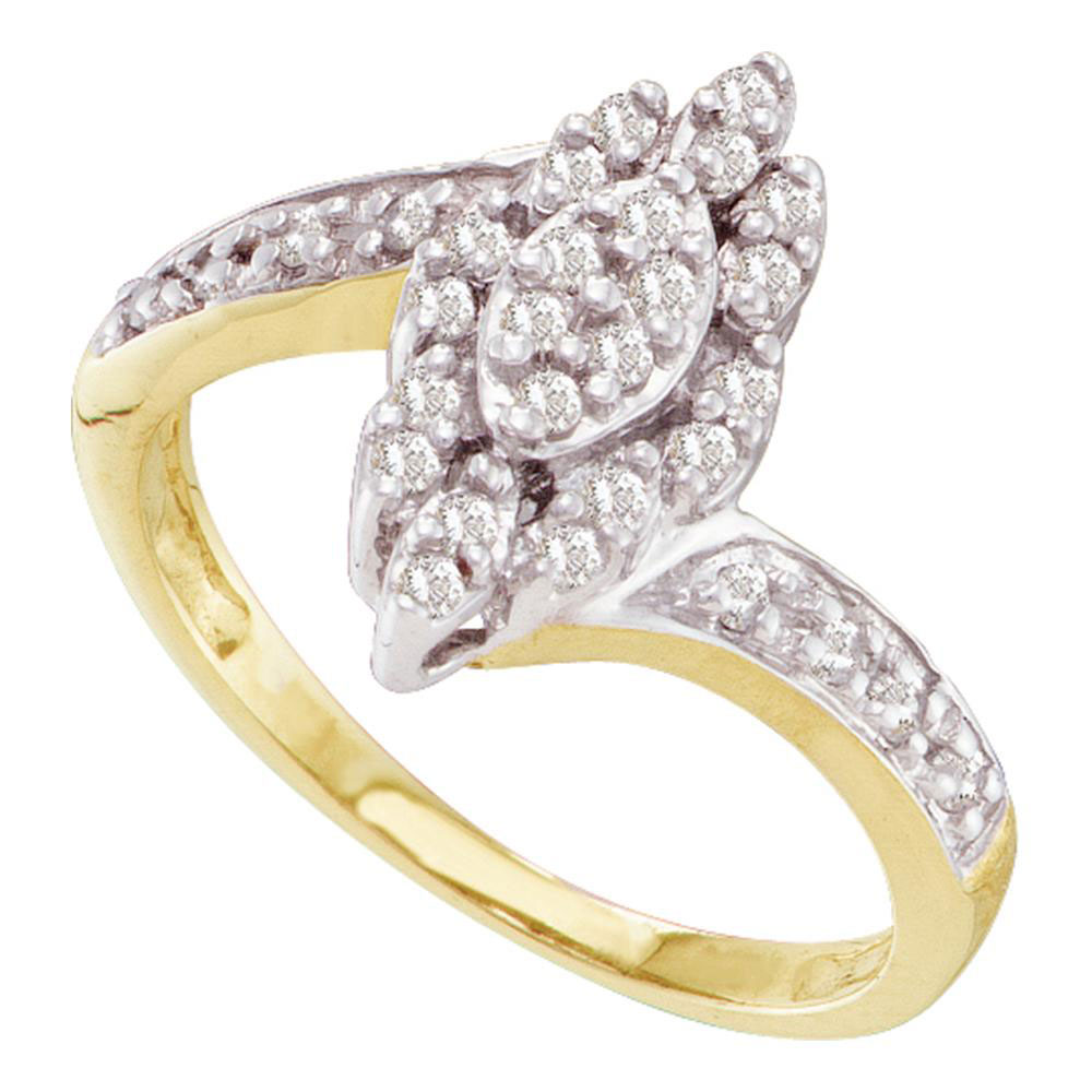 Lot 30089: Diamond Marquise-shape Cluster Ring 10kt Yellow Gold