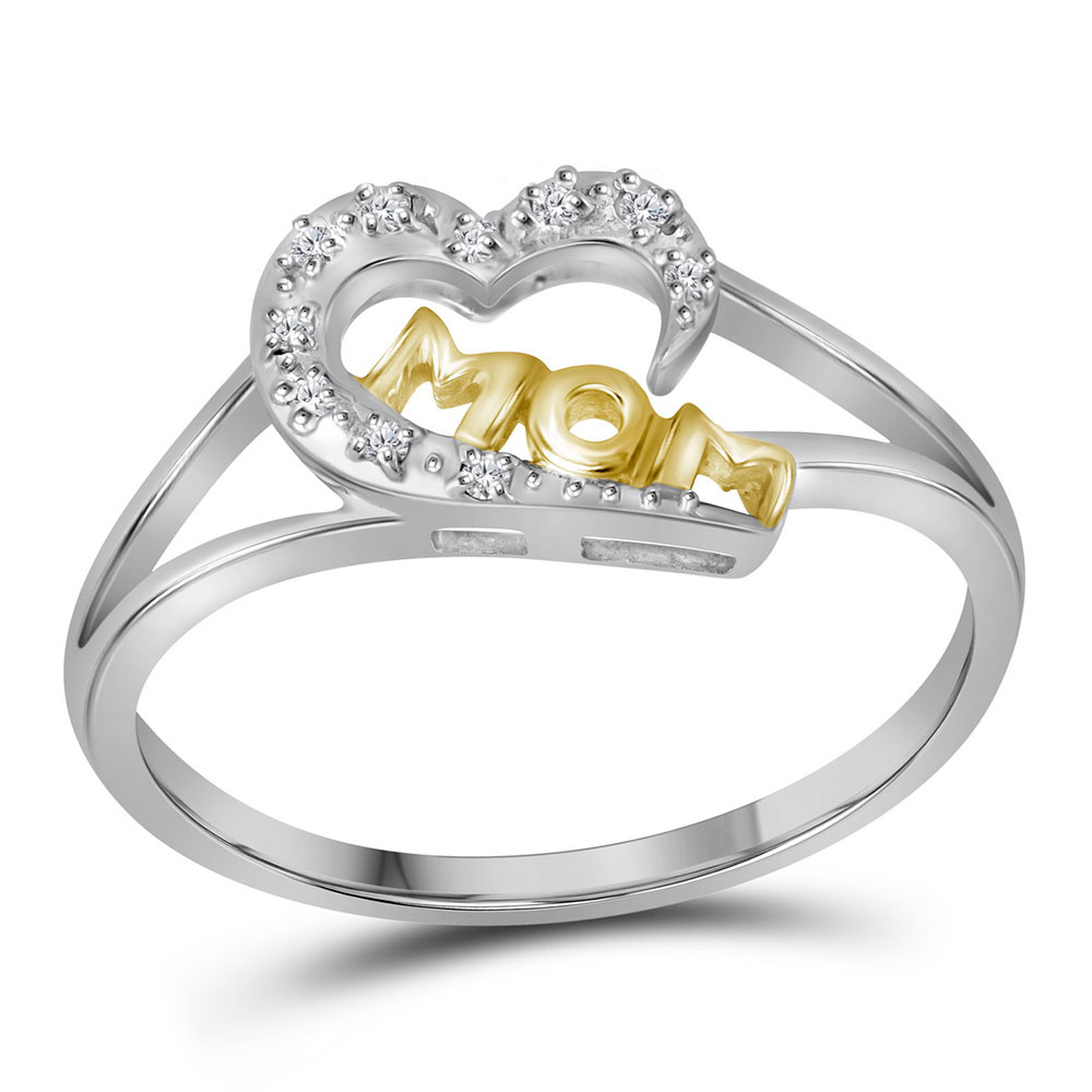 Diamond Mom Heart Ring Two-tone Sterling Silver