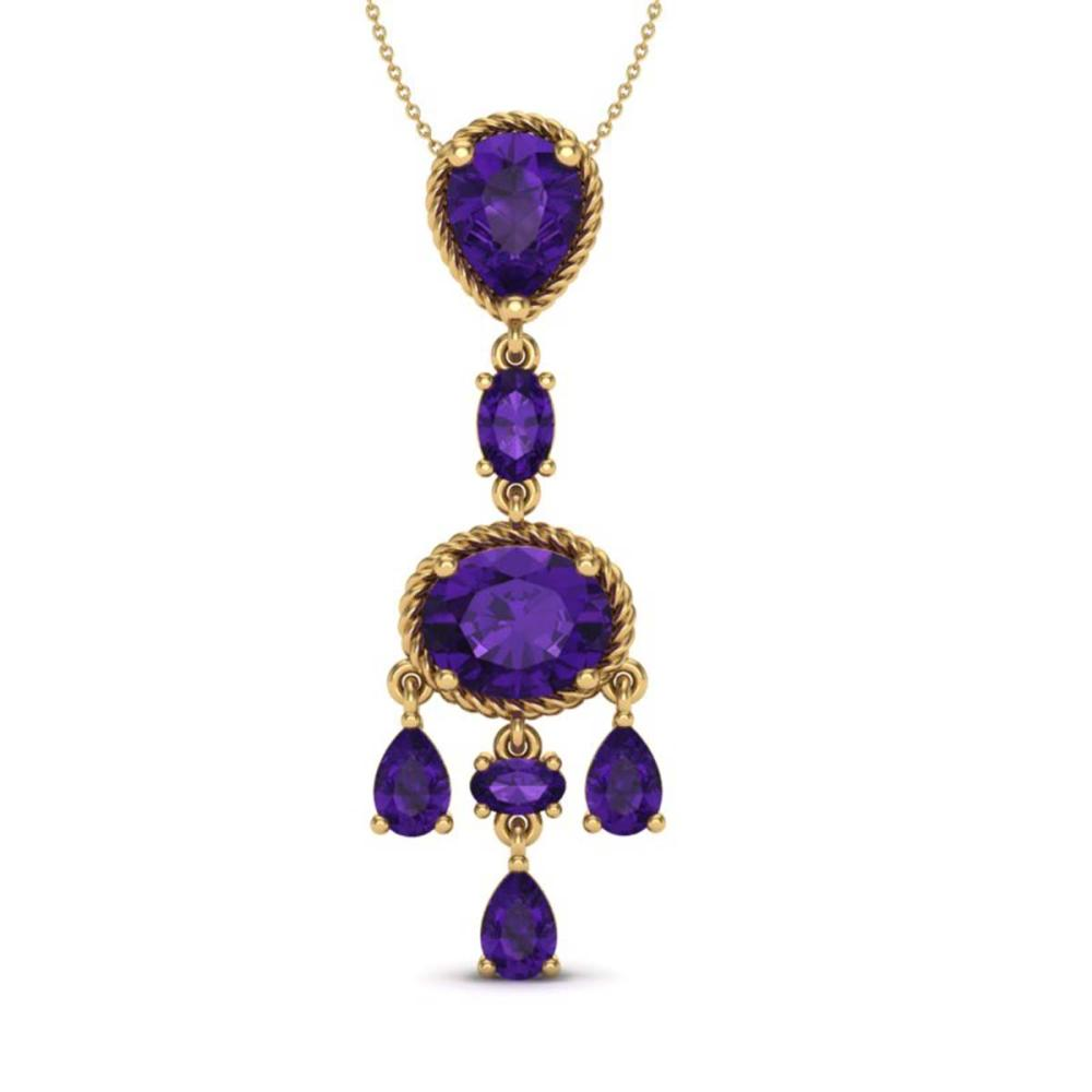 8 CTW Genuine Amethyst Necklace Vintage  10K Yellow Gold