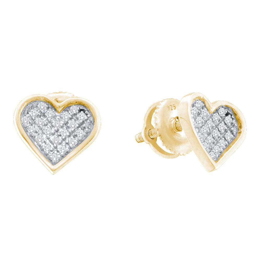 Lot 30098: Diamond Yellow-tone Heart Cluster Earrings Sterling Silver