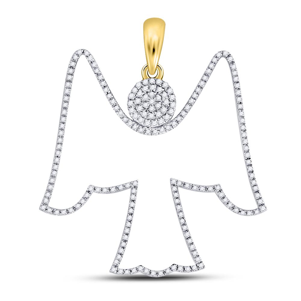 Mens Diamond Angel Outline Charm Pendant 10kt Yellow Gold