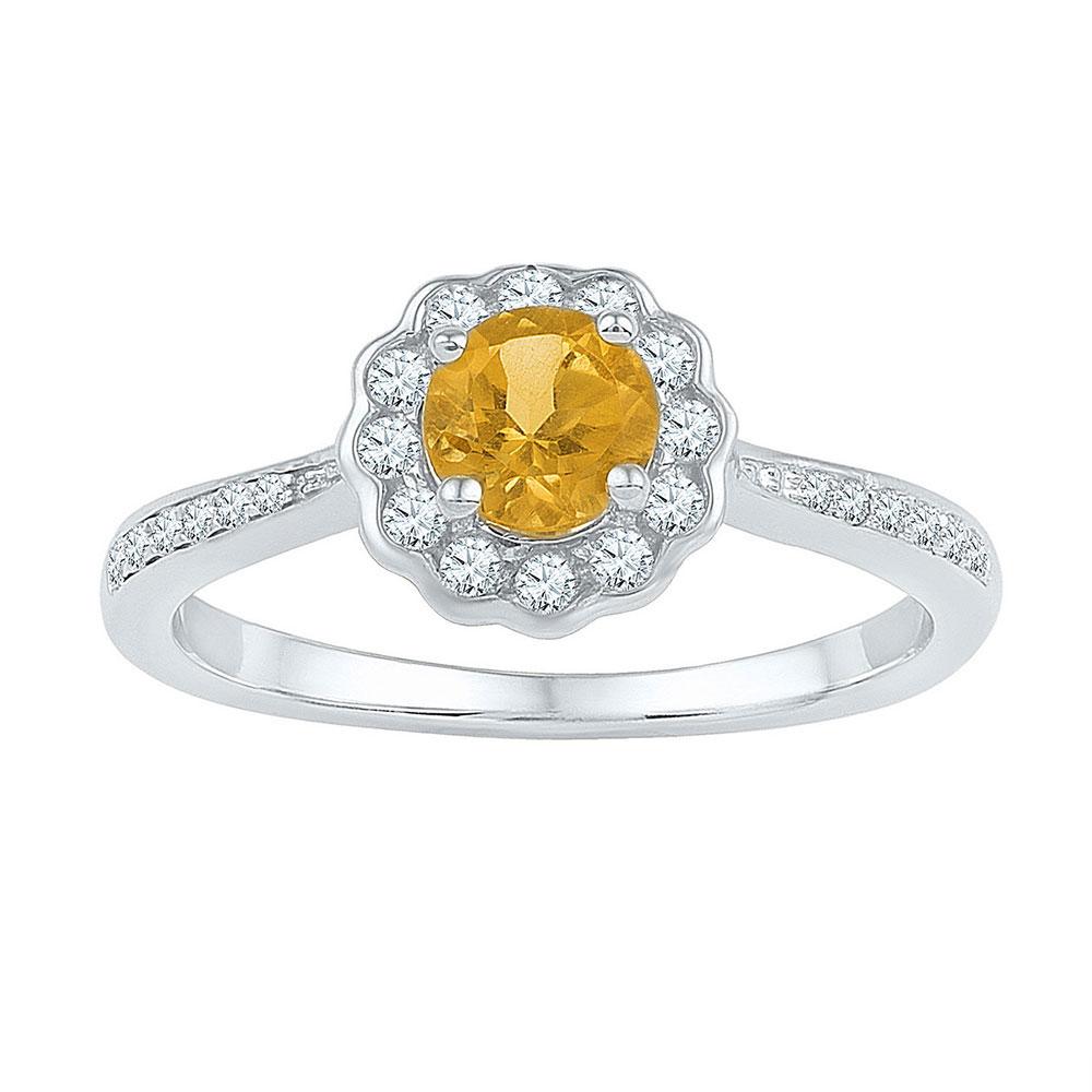 Lot 30107: Citrine Solitaire Diamond Ring 10kt White Gold