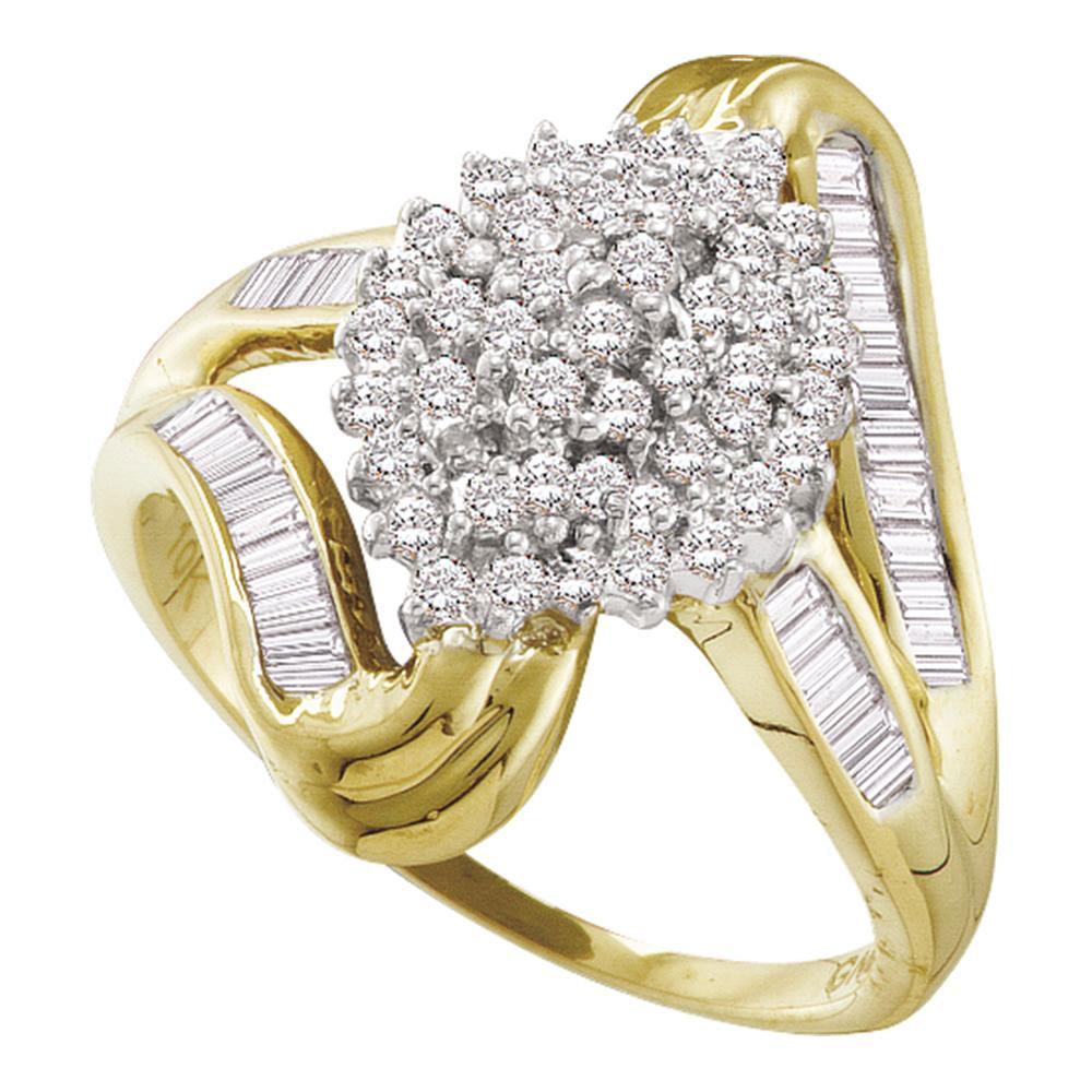 Diamond Cluster Swirl Shank Baguette Ring 10kt Yellow Gold