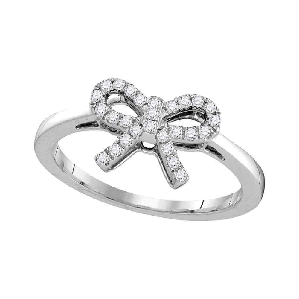 Diamond Ribbon Bow Knot Ring 10kt White Gold
