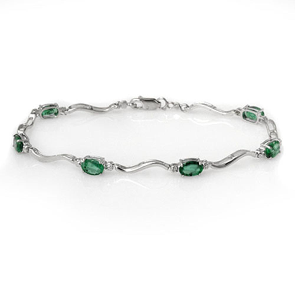 Lot 30112: 3.02 CTW Genuine Emerald & Diamond Bracelet 10K White Gold