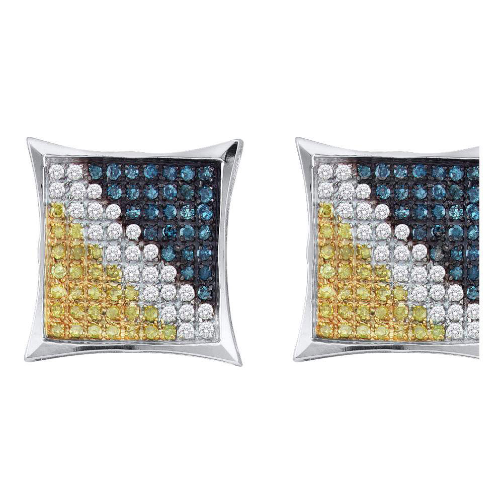Lot 30116: Mens Yellow Blue Color Enhanced Diamond Square Cluster Earrings Sterling Silver