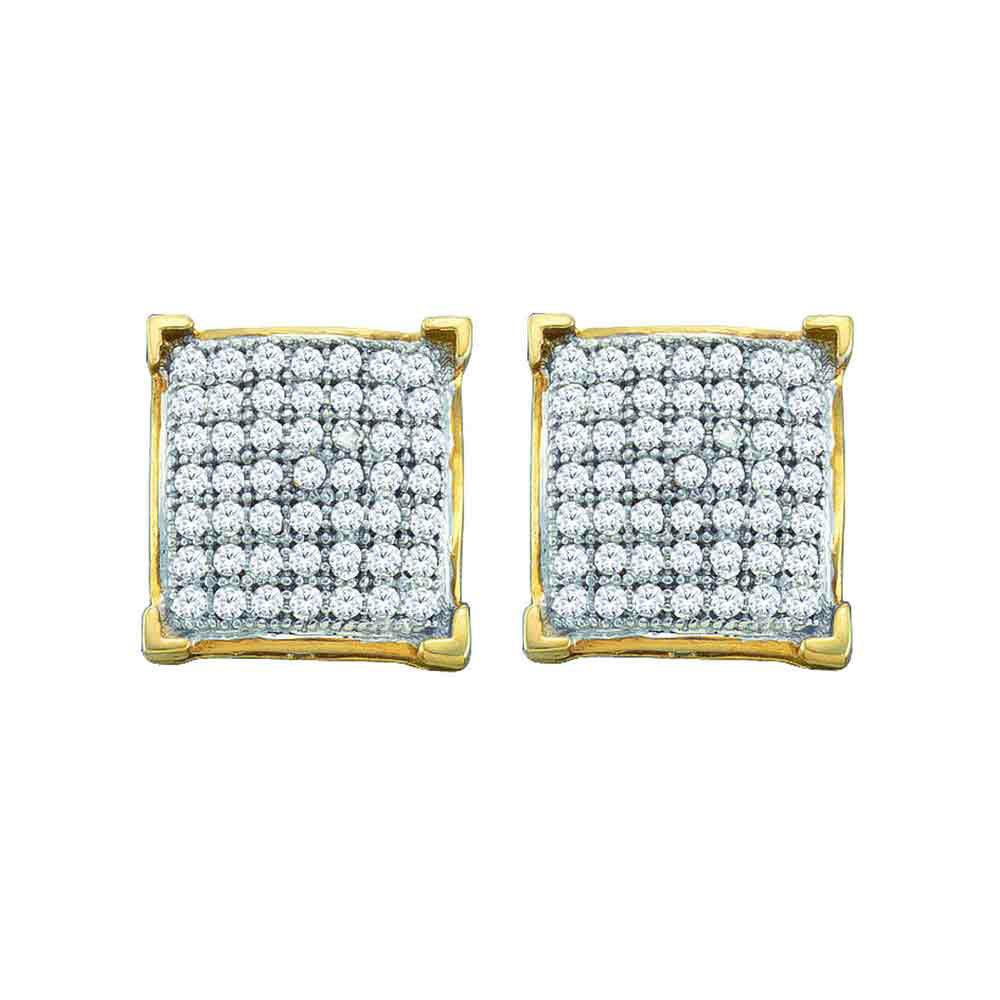 Diamond Square Cluster Earrings 10kt Yellow Gold