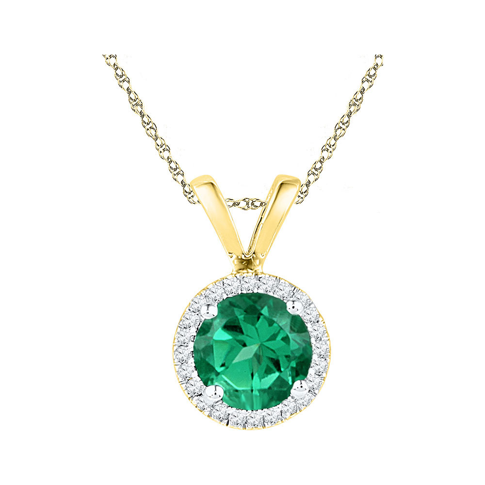 Lot 30117: Lab-Created Emerald Solitaire & Diamond Halo Pendant 10k Yellow Gold