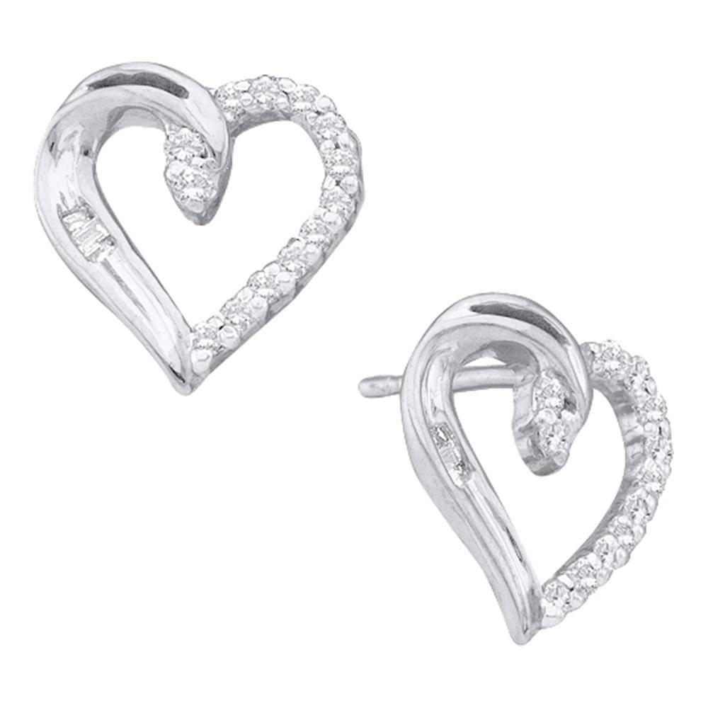 Diamond Heart Stud Earrings 10kt White Gold