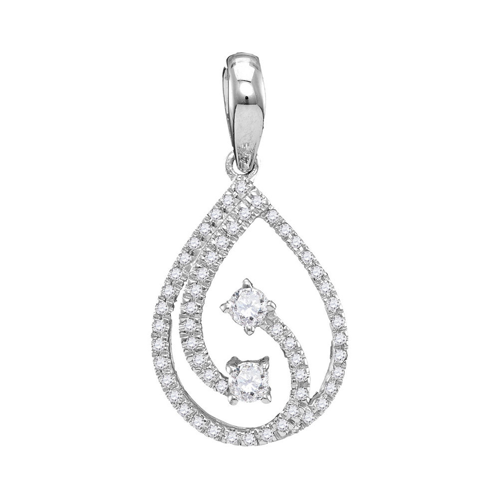 Diamond 2-stone Hearts Together Teardrop Pendant 10kt White Gold