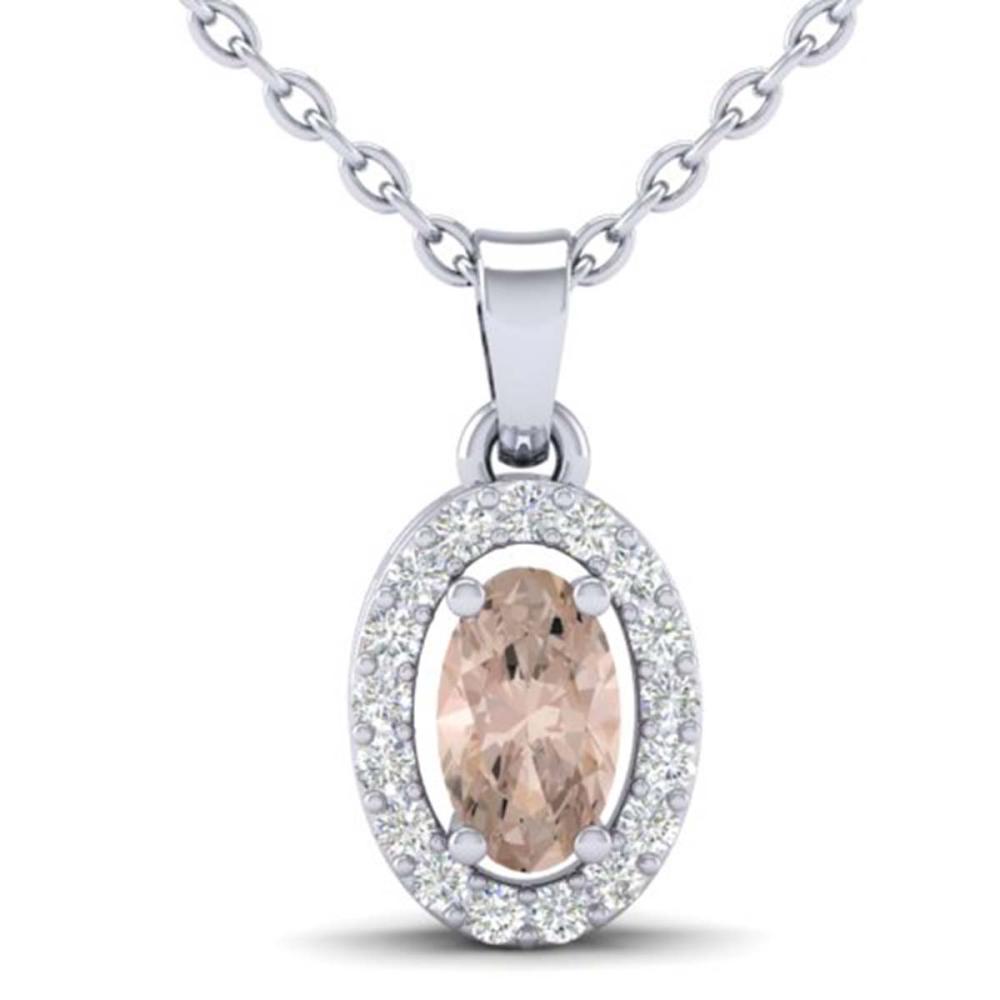 0.41 CTW Genuine Morganite & SI1-SI2 Diamond Necklace 18K White Gold