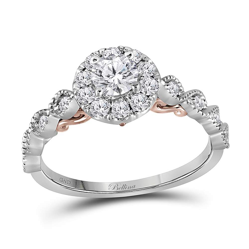 Diamond Solitaire Bellina Bridal Wedding Engagement Ring 14kt Two-tone White Rose Gold