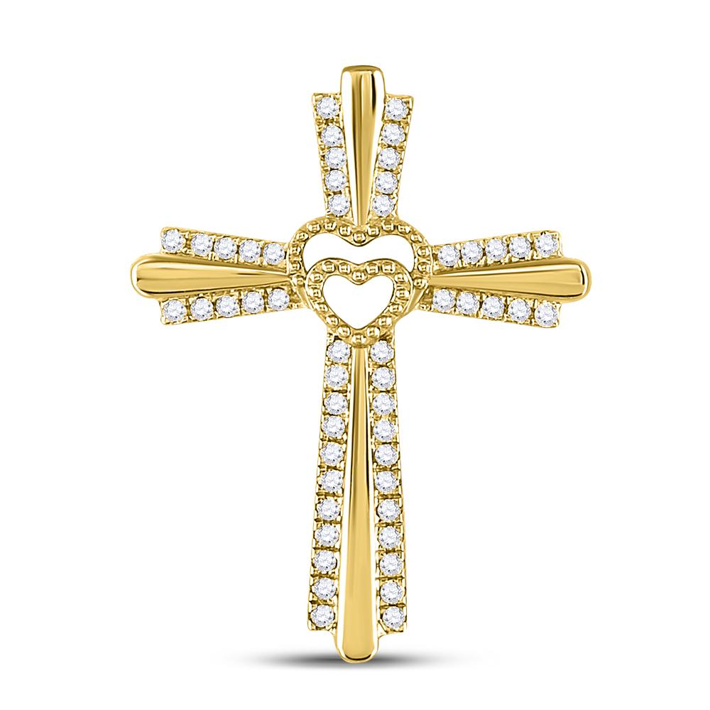 Diamond Cross Heart Pendant 10kt Yellow Gold