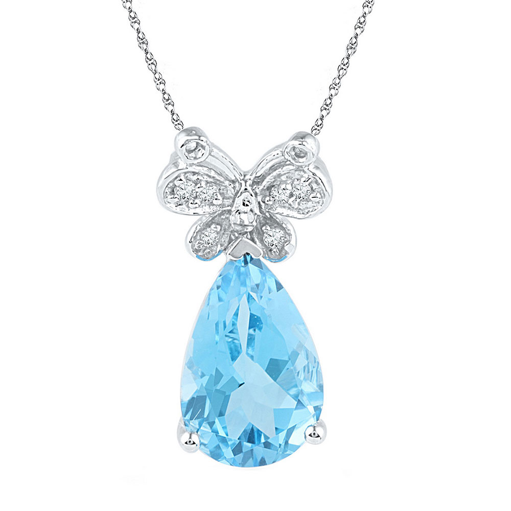 Pear Lab-Created Blue Topaz Teardrop Butterfly Pendant Sterling Silver