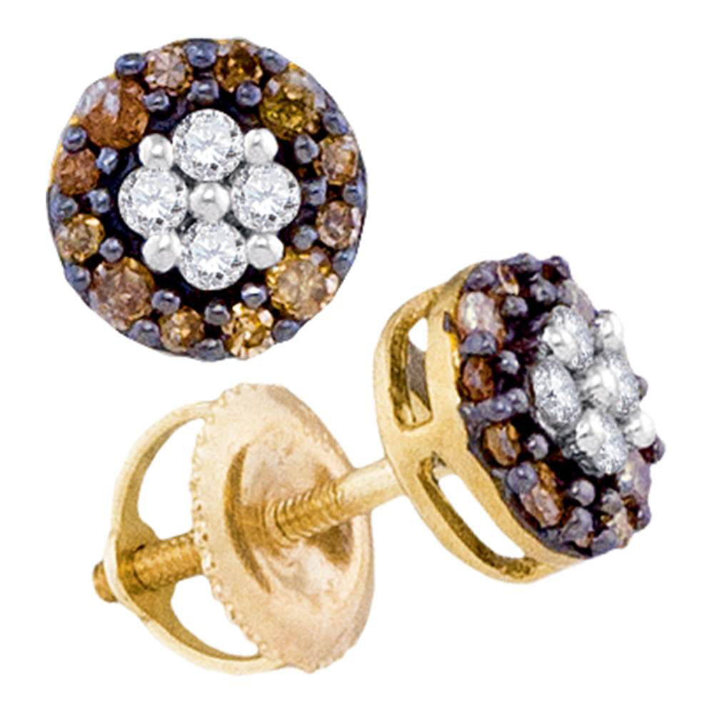 Lot 30128: Brown Diamond Cluster Earrings 10kt Yellow Gold