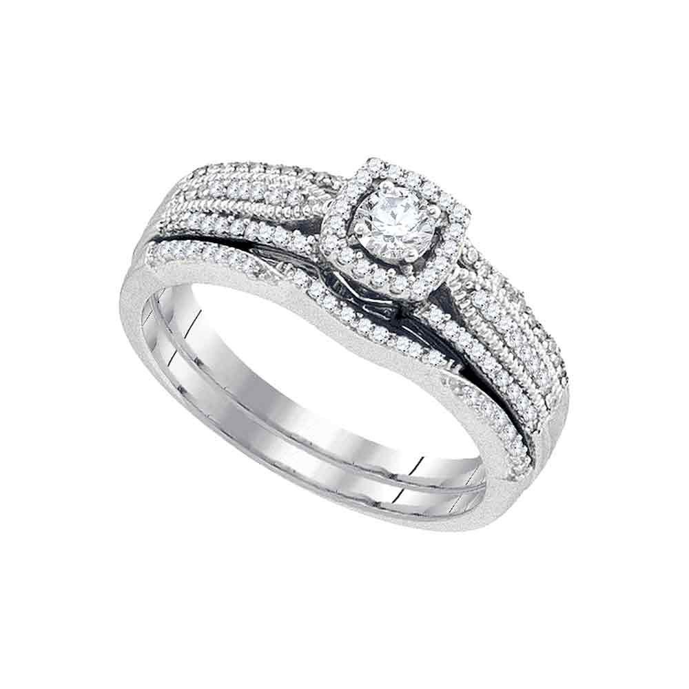Diamond Bridal Wedding Engagement Ring 10k White Gold