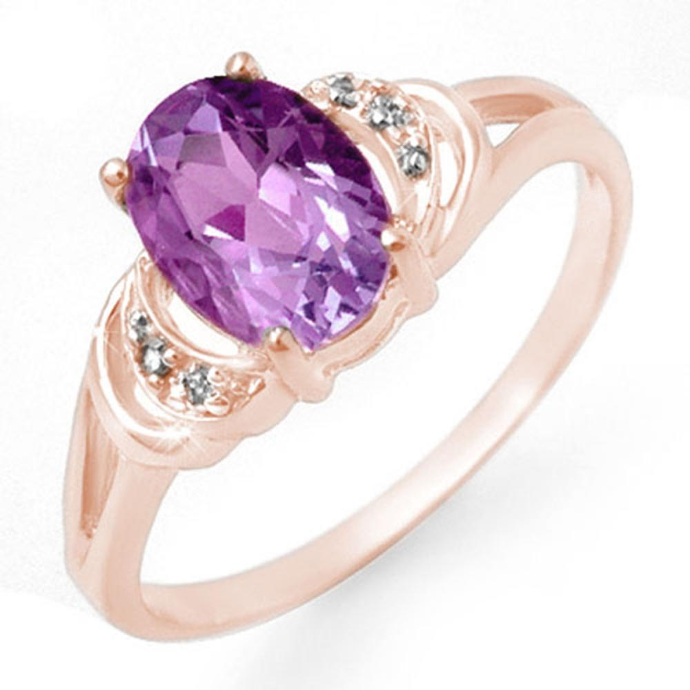 1.05 CTW Genuine Amethyst & Diamond Ring 14K Rose Gold