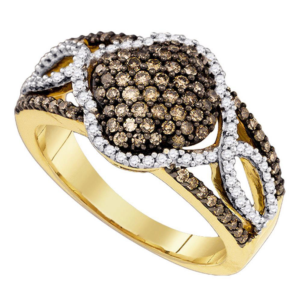 Brown Diamond Cluster Ring 10kt Yellow Gold