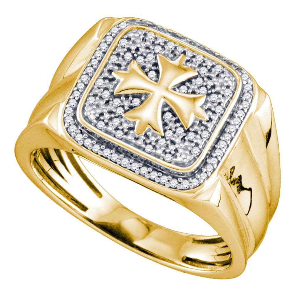 Mens Diamond Cross Square Fashion Ring Yellow-tone Sterling Silver