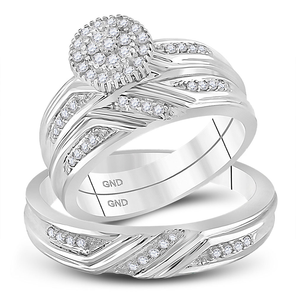 Lot 30137: His & Hers Diamond Cluster Matching Bridal Wedding Ring 14kt White Gold