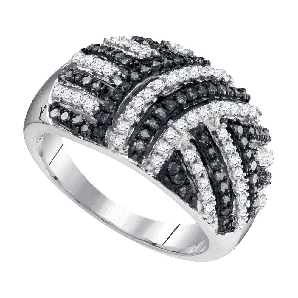 Black Color Enhanced Diamond Striped Fashion Ring 10kt White Gold