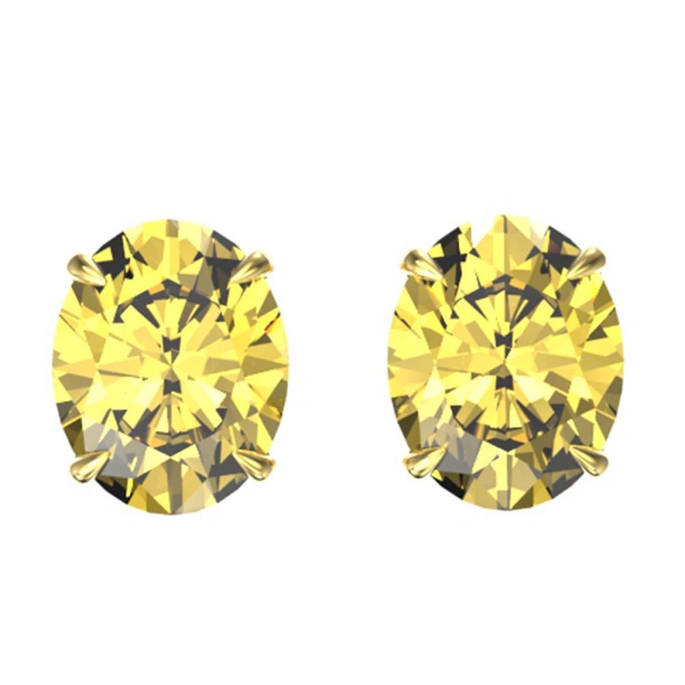 5 CTW Genuine Citrine Stud Earrings 18K Yellow Gold