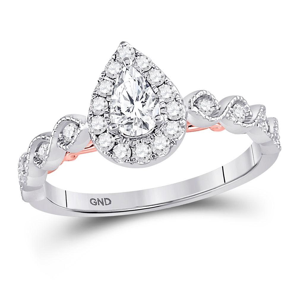 Lot 30140: Pear Diamond Teardrop Bellina Bridal Wedding Engagement Ring 14kt Two-tone White Rose Gold