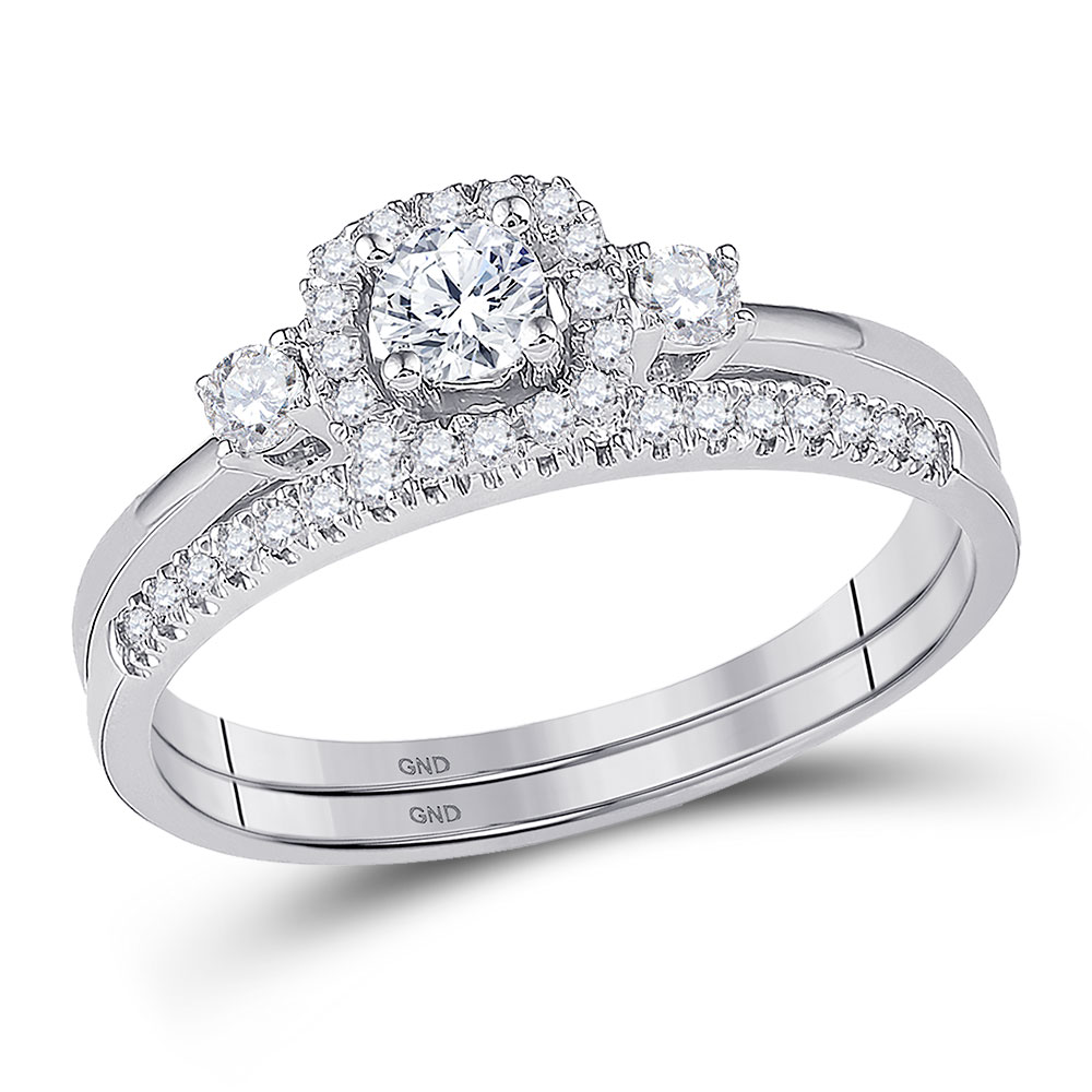 Lot 30143: Diamond Solitaire Halo Bridal Wedding Engagement Ring 10k White Gold