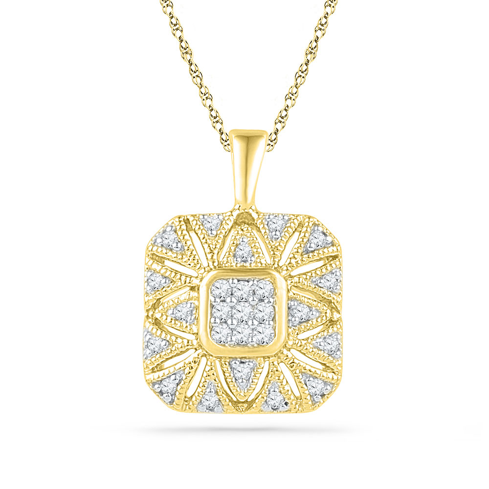 Diamond Square Cluster Pendant 10kt Yellow Gold