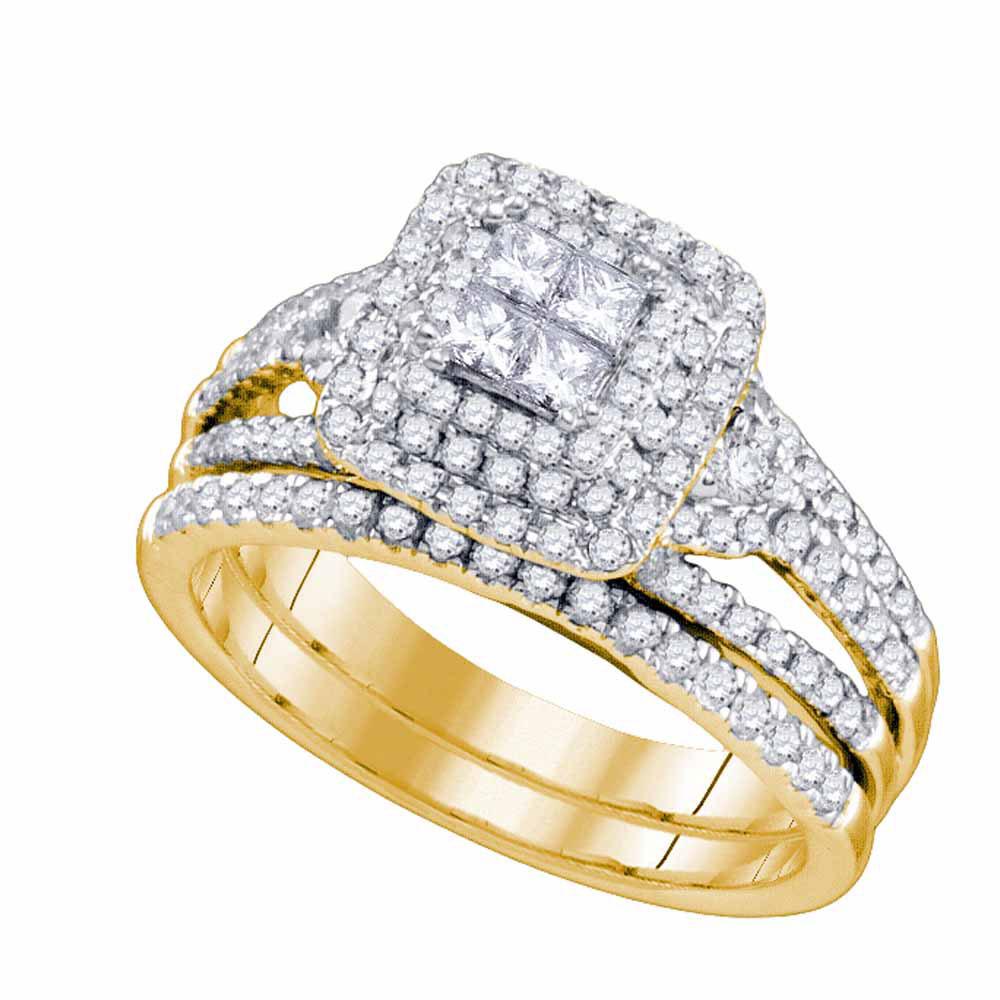 Princess Diamond Bridal Wedding Engagement Ring 14kt Yellow Gold
