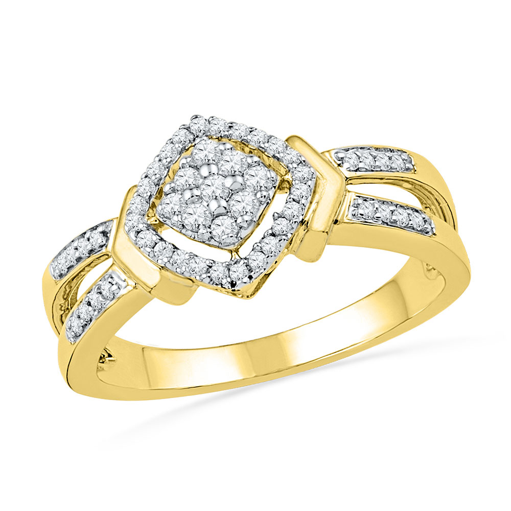 Diamond Square Cluster Ring 10kt Yellow Gold
