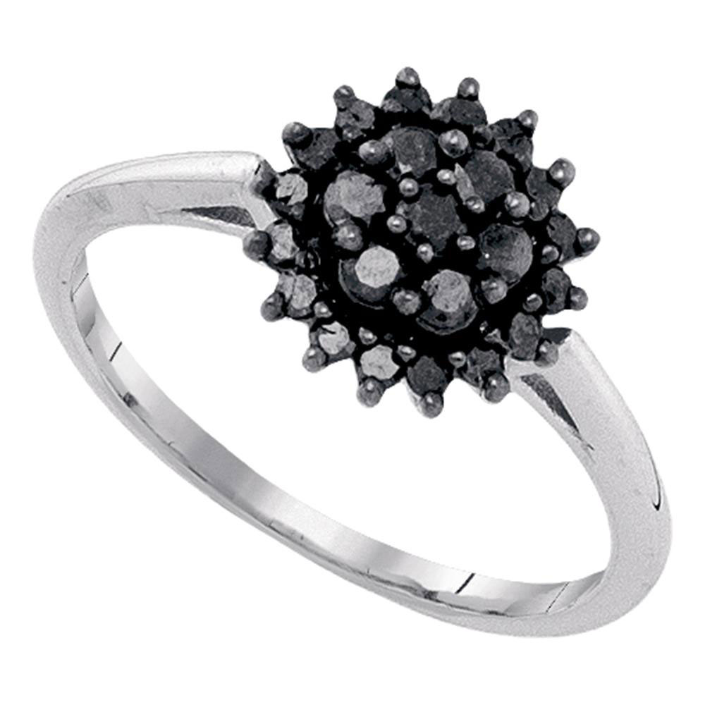 Lot 30156: Black Color Enhanced Diamond Cluster Ring 10kt White Gold