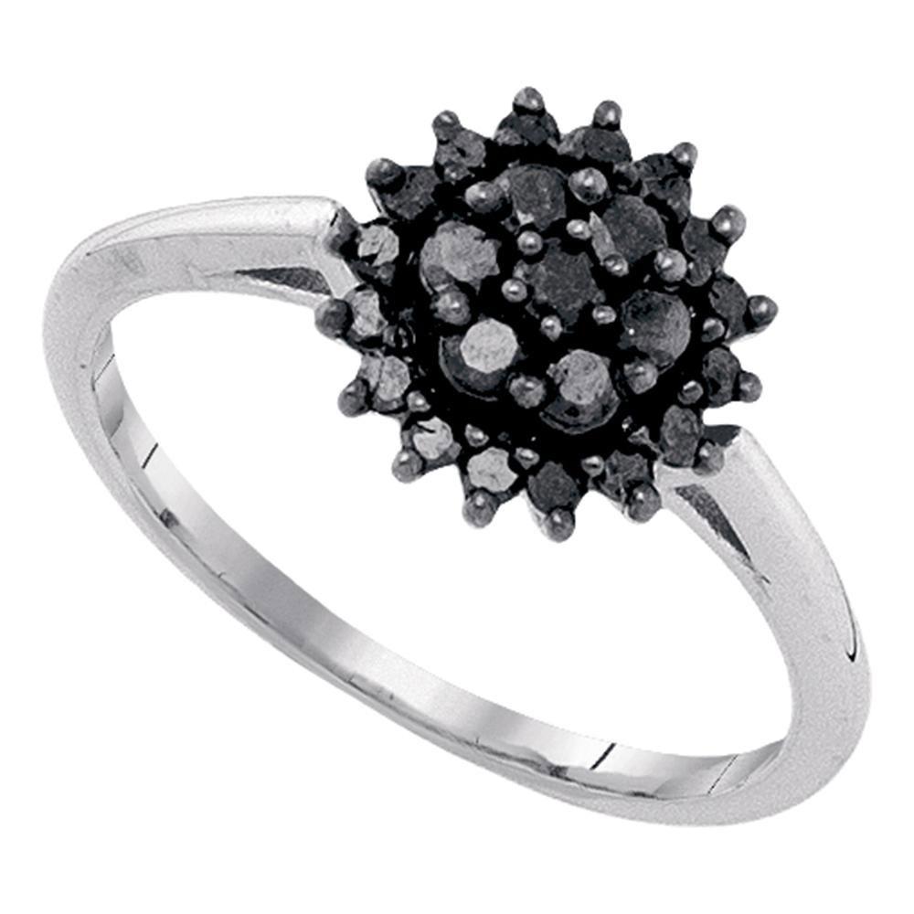 Black Color Enhanced Diamond Cluster Ring 10kt White Gold