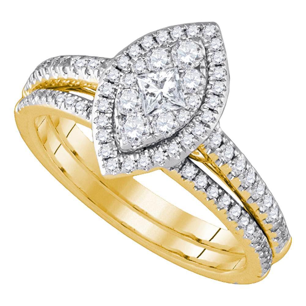 Lot 30157: Princess Diamond Marquise-shape Cluster Bridal Wedding Engagement Ring 14kt Yellow Gold