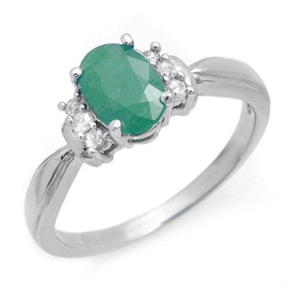 1.0 CTW Genuine Emerald & Diamond Ring 18K White Gold