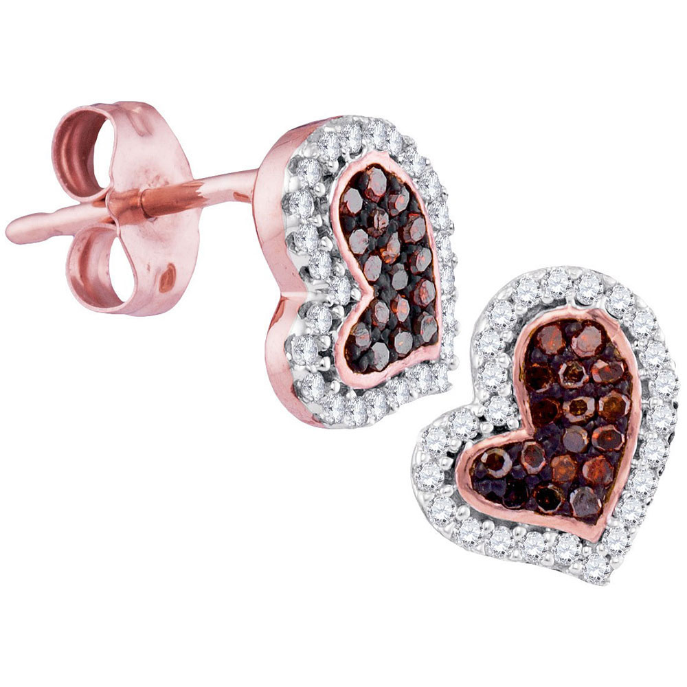 Red Color Enhanced Diamond Heart Stud Screwback Earrings 10kt Rose Gold