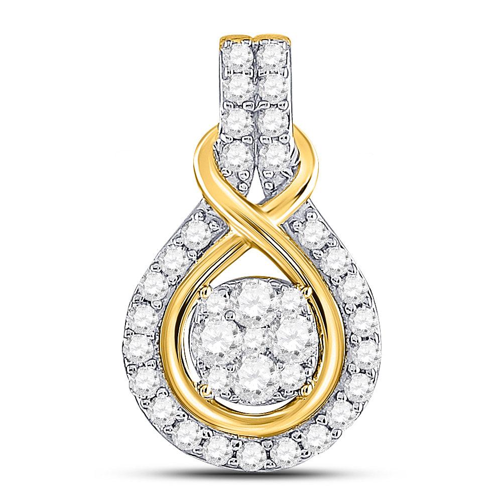 Diamond Cluster Pendant 10kt Yellow Gold