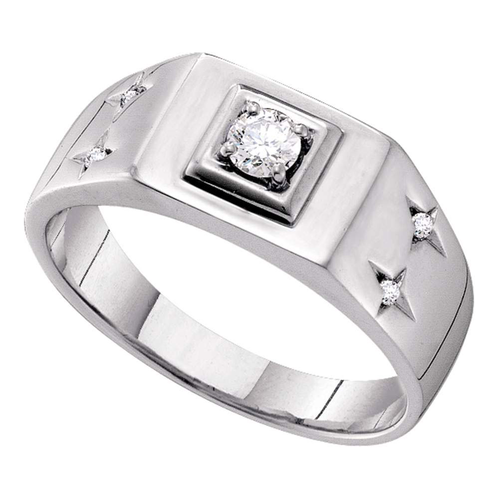 Mens Diamond Solitaire Accent Ring 14kt White Gold