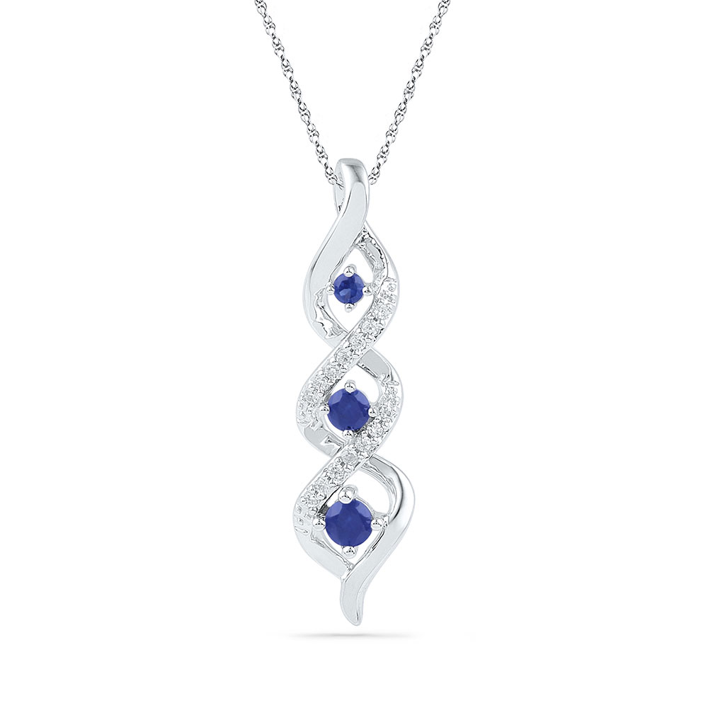 Lot 30162: Lab-Created Blue Sapphire Cascading 3-stone Pendant 10kt White Gold