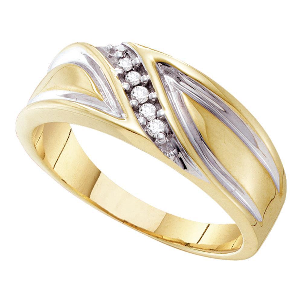 Mens Diamond Wedding Band 10kt Yellow Gold