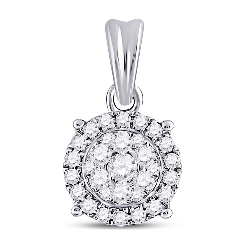 Diamond Flower Cluster Pendant 14kt White Gold