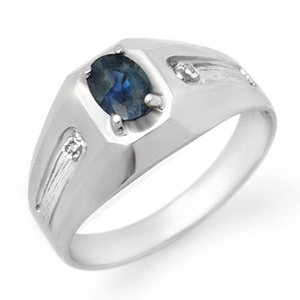 0.68 CTW Genuine Blue Sapphire & Diamond Men's Ring 10K White Gold