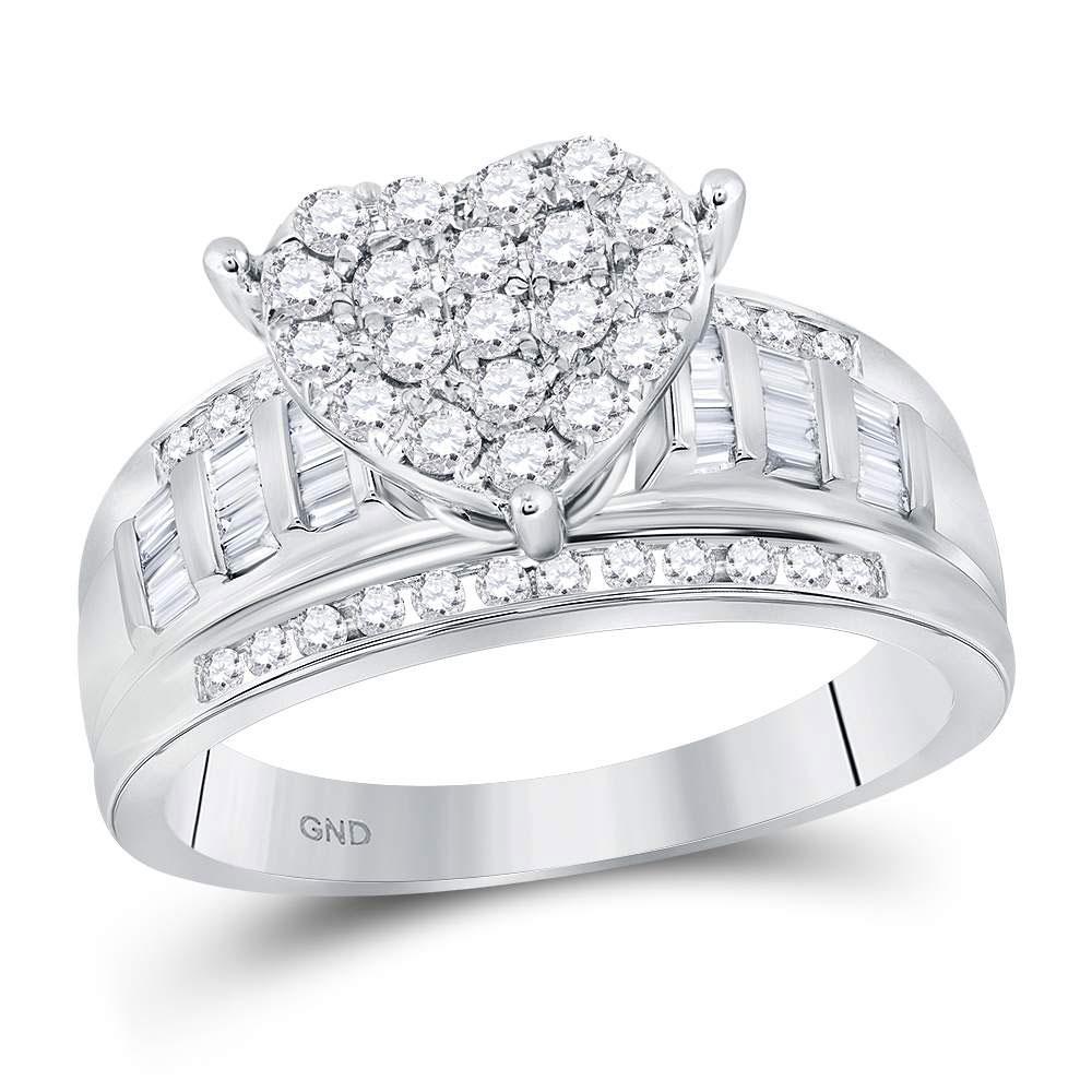 Diamond Heart Cluster Bridal Wedding Engagement Ring 10kt White Gold