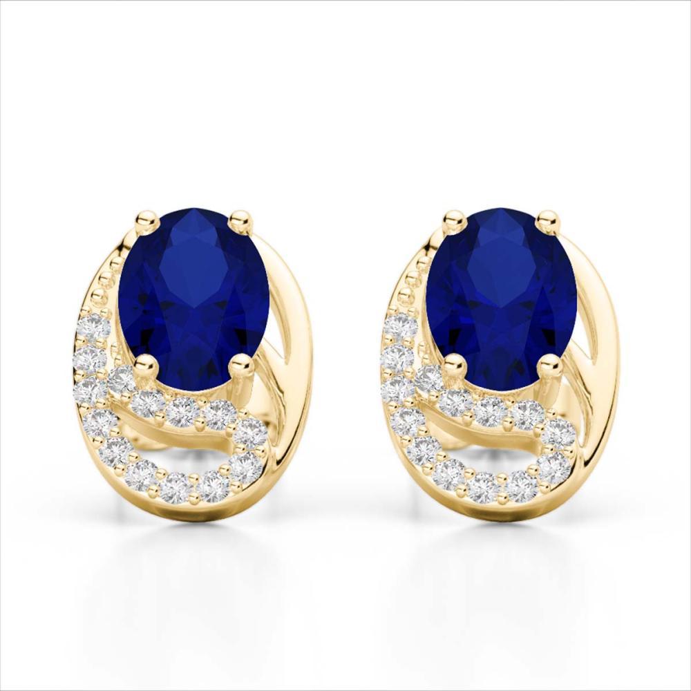 2.50 Sapphire & SI1-SI2 Diamond Stud Earrings 10K Yellow Gold