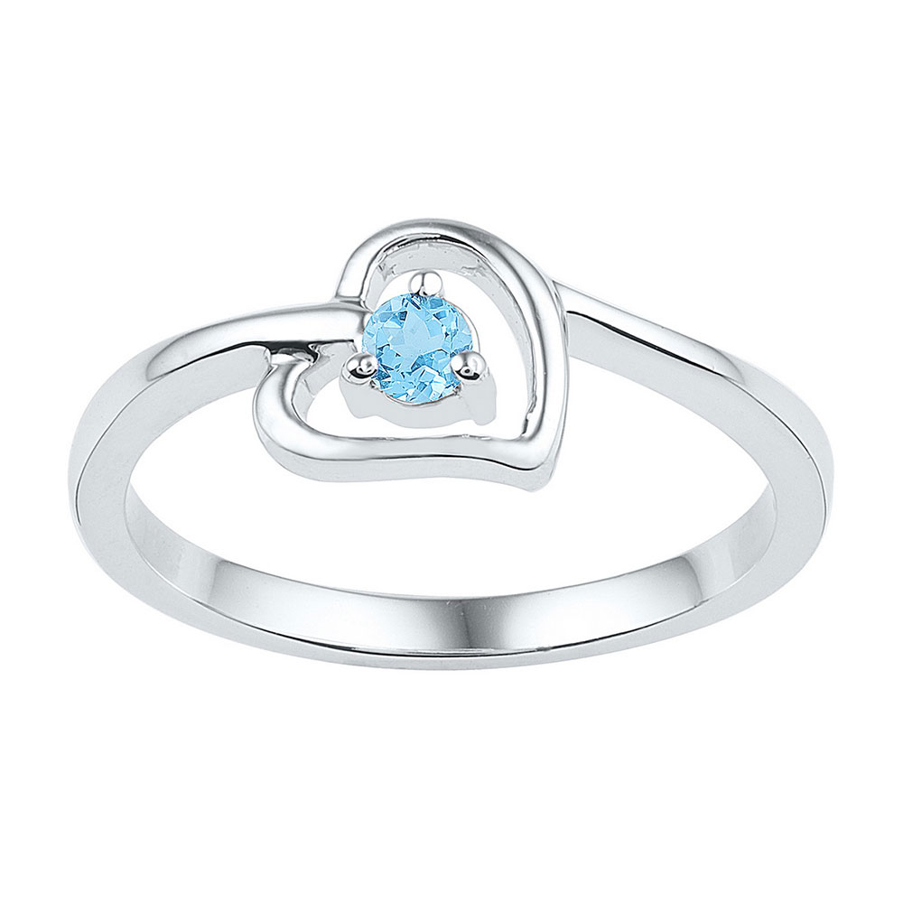 Lab-Created Blue Topaz Heart Ring Sterling Silver