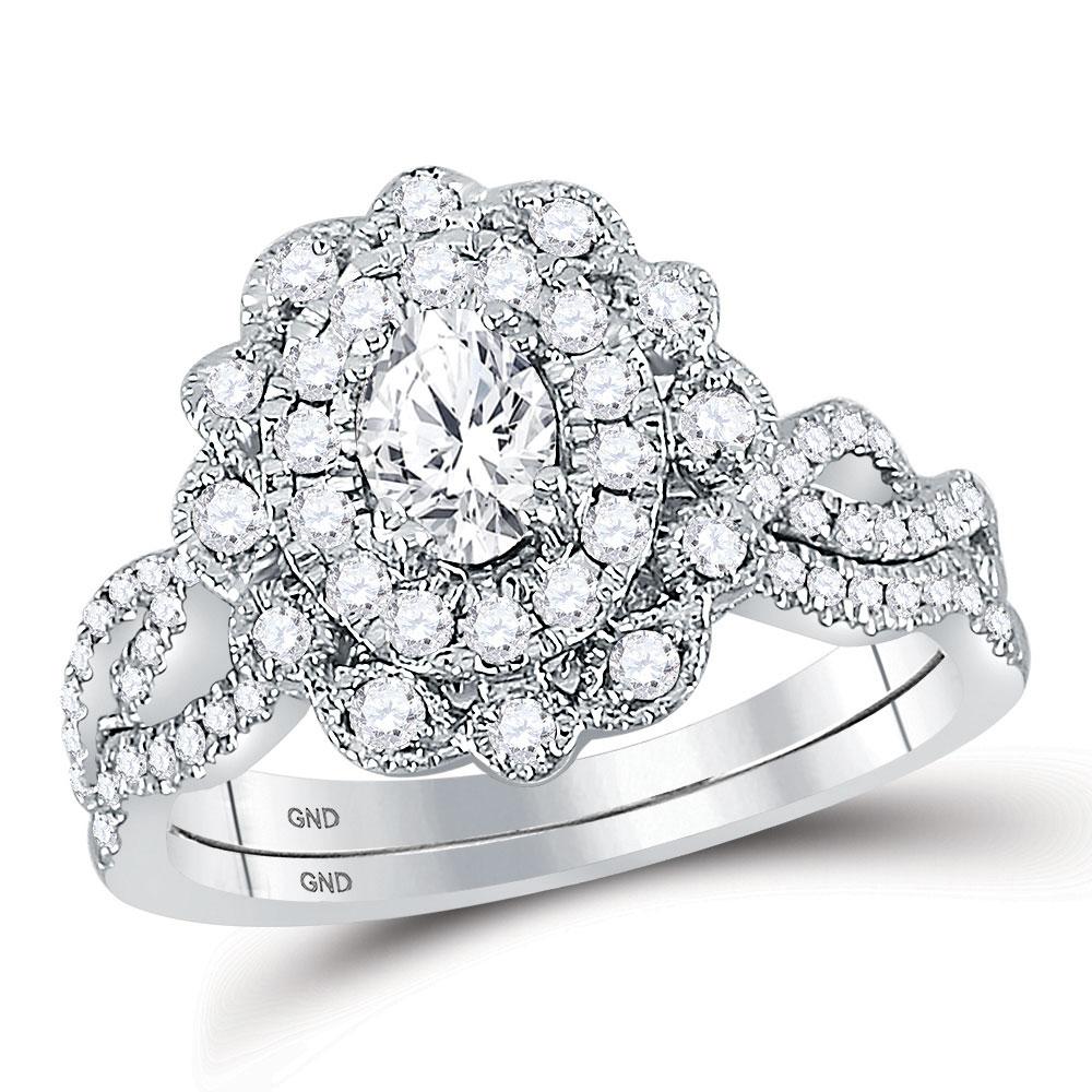 Lot 30179: Oval Diamond Twist Bridal Wedding Engagement Ring 14kt White Gold
