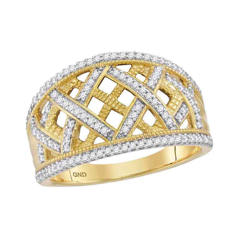 Diamond Lattice Fashion Band 10kt Yellow Gold