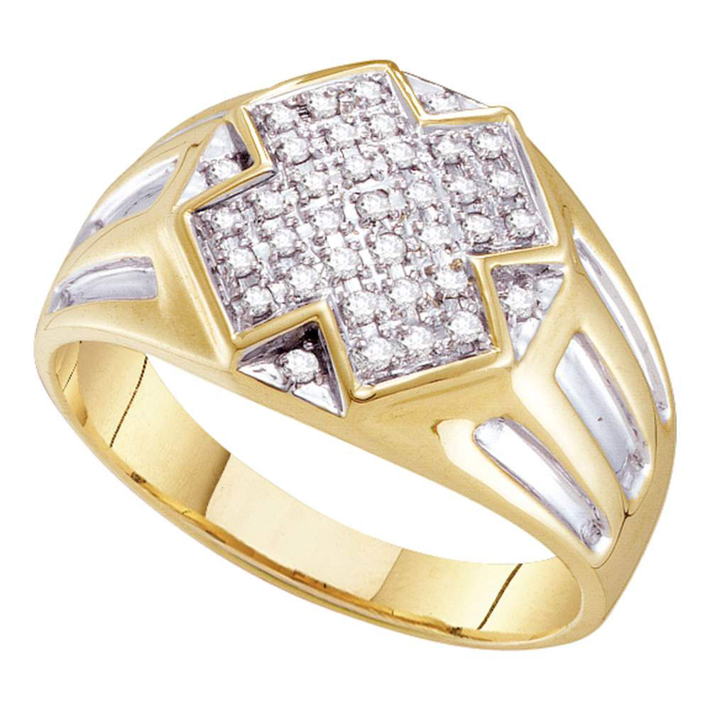 Mens Diamond Cross Cluster Ring 10kt Yellow Two-tone Gold